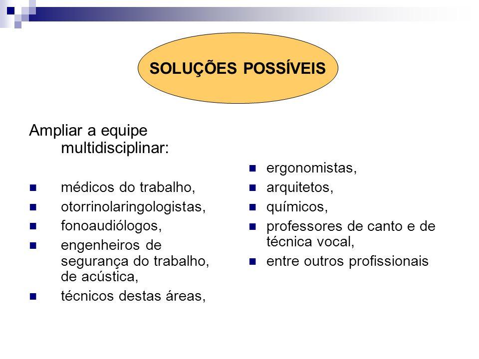 Ampliar a equipe multidisciplinar: médicos do trabalho, otorrinolaringologistas, fonoaudiólogos, engenheiros de segurança do trabalho, de acústica, té