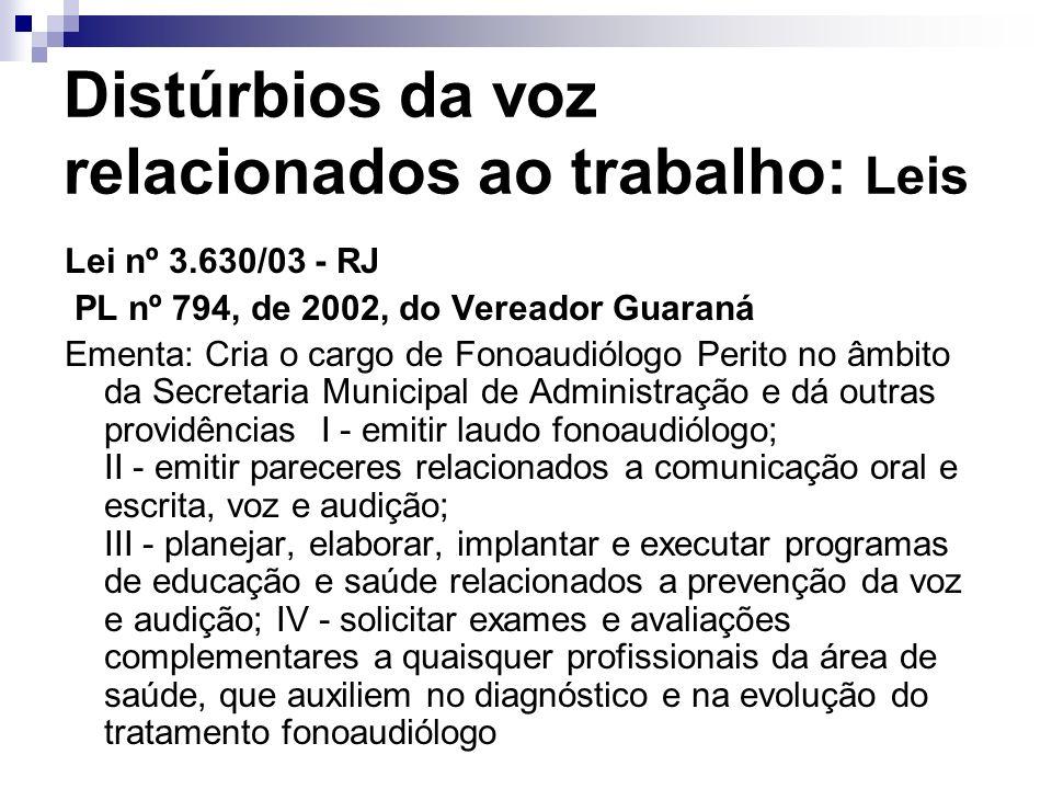 Distúrbios da voz relacionados ao trabalho: Leis Lei nº 3.630/03 - RJ PL nº 794, de 2002, do Vereador Guaraná Ementa: Cria o cargo de Fonoaudiólogo Pe