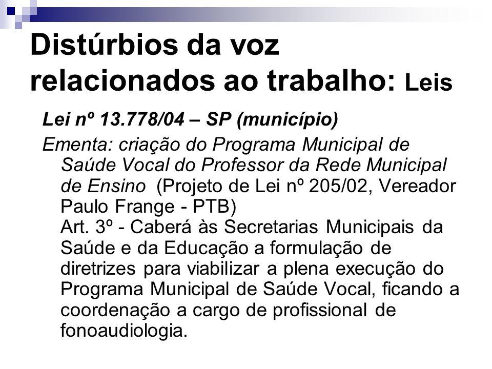 Distúrbios da voz relacionados ao trabalho: Leis Lei nº 13.778/04 – SP (município) Ementa: criação do Programa Municipal de Saúde Vocal do Professor d