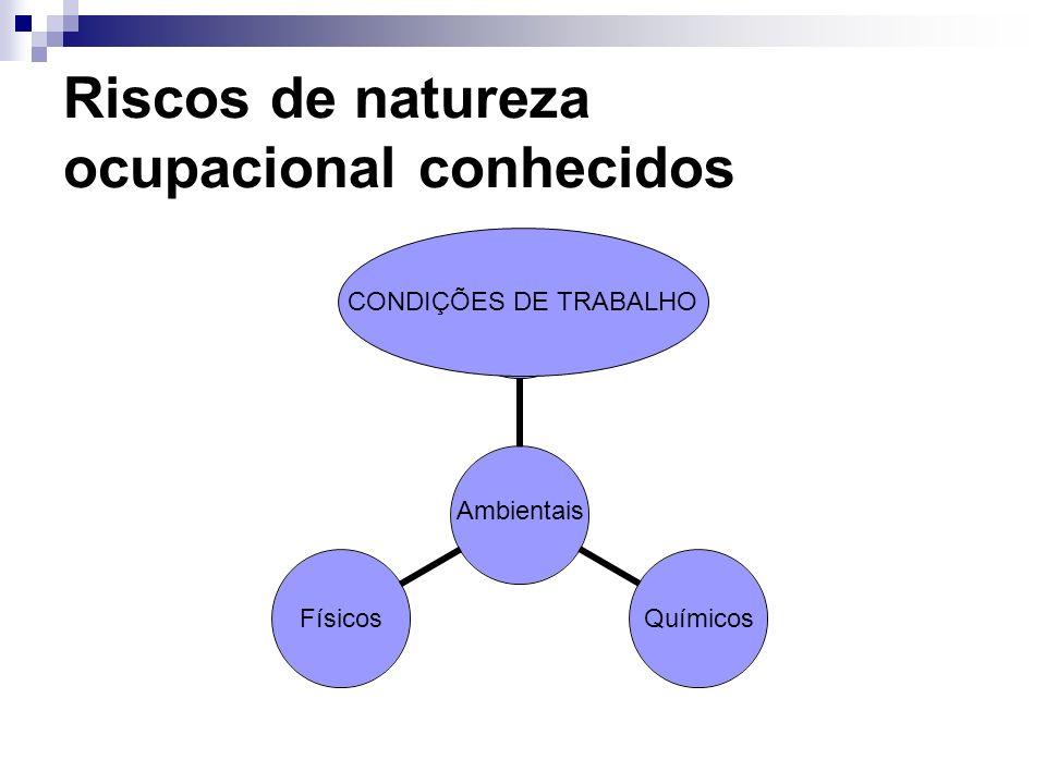 Riscos de natureza ocupacional conhecidos Ambientais QuímicosFísicos CONDIÇÕES DE TRABALHO