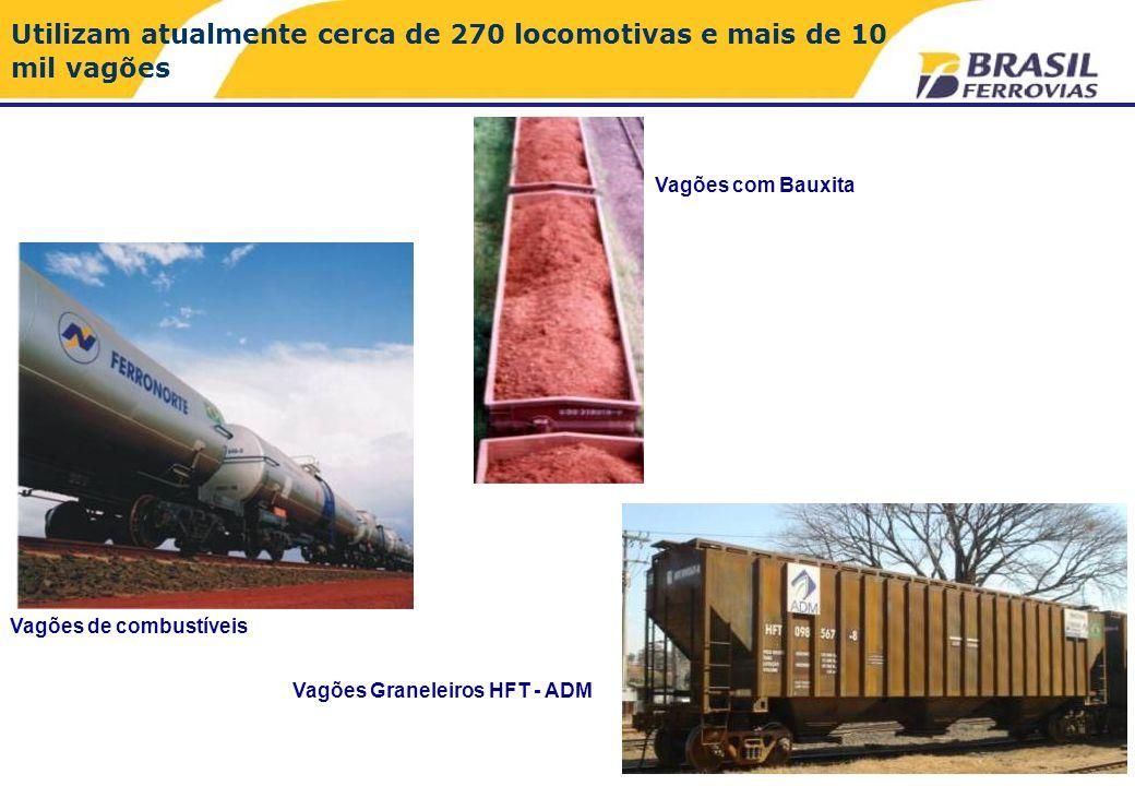 Utilizam atualmente cerca de 270 locomotivas e mais de 10 mil vagões Vagões de combustíveis Vagões com Bauxita Vagões Graneleiros HFT - ADM