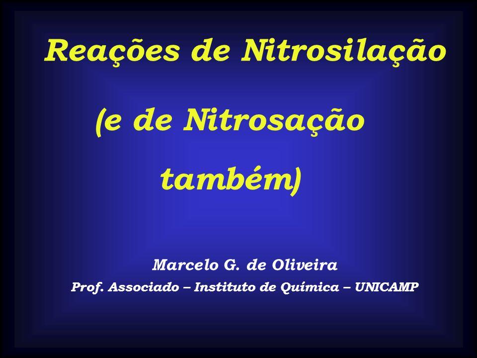 Reações de Nitrosilação Marcelo G. de Oliveira Prof. Associado – Instituto de Química – UNICAMP (e de Nitrosação também)