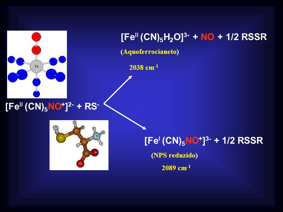 [Fe II (CN) 5 NO + ] 2- + RS - [Fe II (CN) 5 H 2 O] 3- + NO + 1/2 RSSR (Aquoferrocianeto) 2038 cm -1 [Fe I (CN) 5 NO + ] 3- + 1/2 RSSR (NPS reduzido)