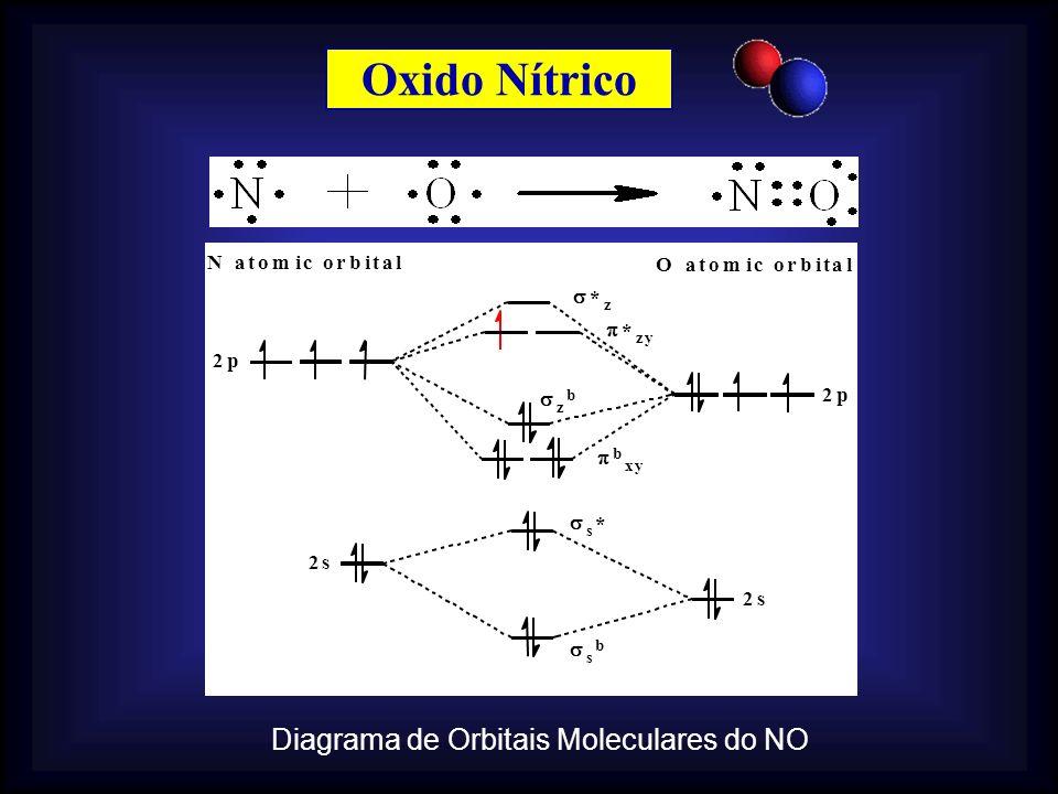 Oxido Nítrico 2s s * s b N atomic orbital O atomic orbital Diagrama de Orbitais Moleculares do NO