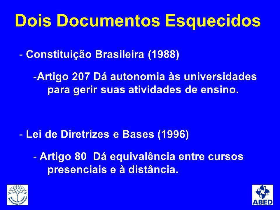 - Constituição Brasileira (1988) -Artigo 207 Dá autonomia às universidades para gerir suas atividades de ensino. - Lei de Diretrizes e Bases (1996) -