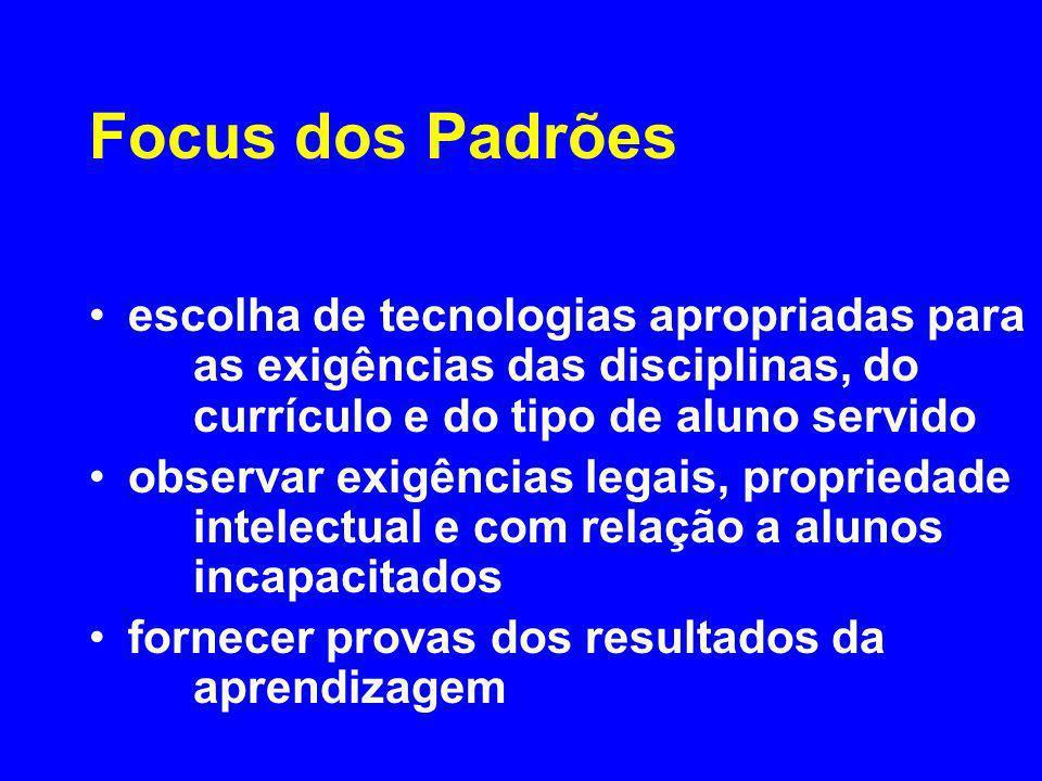 Focus dos Padrões escolha de tecnologias apropriadas para as exigências das disciplinas, do currículo e do tipo de aluno servido observar exigências l