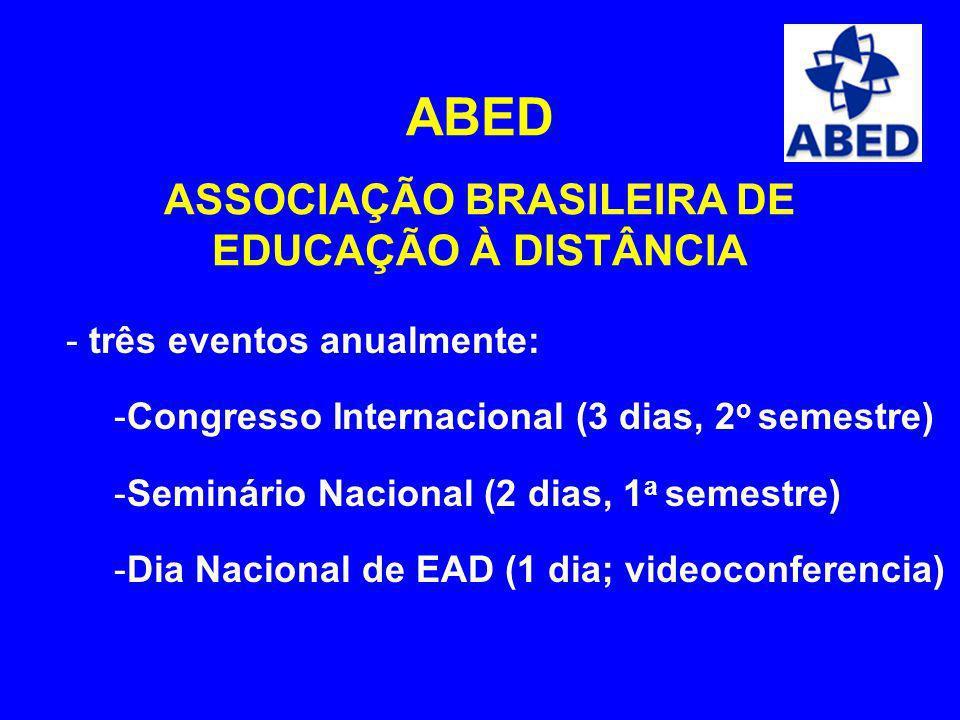 ABED ASSOCIAÇÃO BRASILEIRA DE EDUCAÇÃO À DISTÂNCIA - três eventos anualmente: -Congresso Internacional (3 dias, 2 o semestre) -Seminário Nacional (2 d