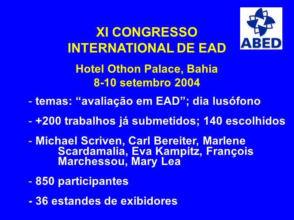 XI CONGRESSO INTERNATIONAL DE EAD Hotel Othon Palace, Bahia 8-10 setembro 2004 - temas: avaliação em EAD; dia lusófono - +200 trabalhos já submetidos;