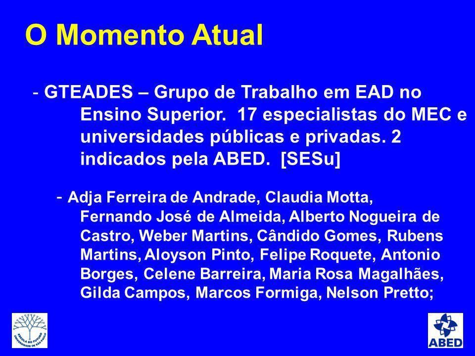 - GTEADES – Grupo de Trabalho em EAD no Ensino Superior. 17 especialistas do MEC e universidades públicas e privadas. 2 indicados pela ABED. [SESu] -