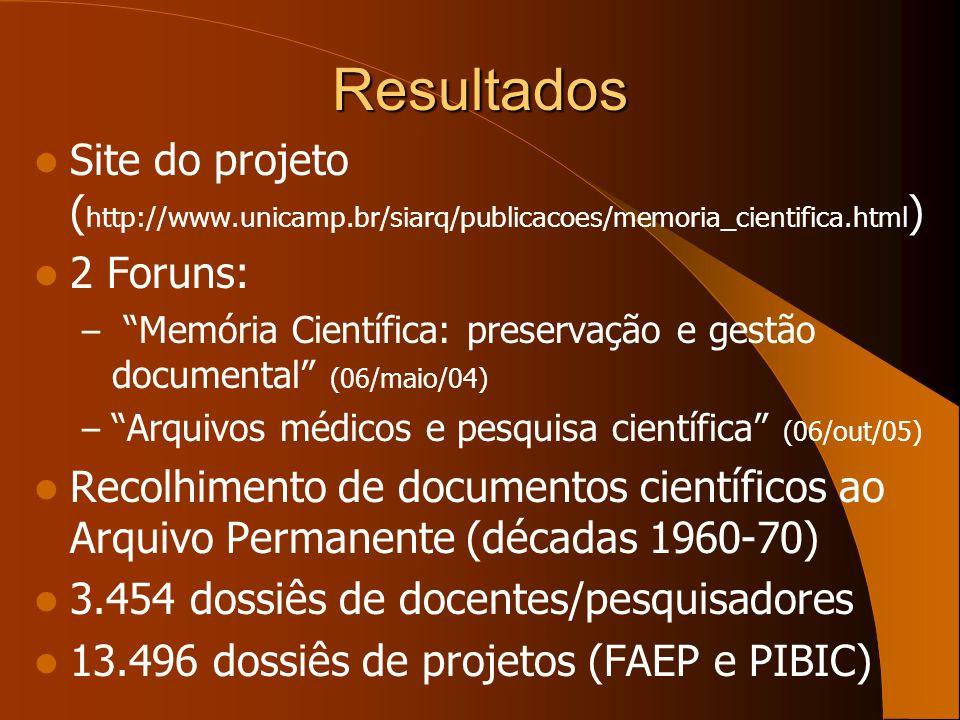 Resultados Site do projeto ( http://www.unicamp.br/siarq/publicacoes/memoria_cientifica.html ) 2 Foruns: – Memória Científica: preservação e gestão do