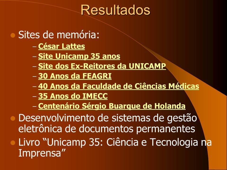 Resultados Sites de memória: – César Lattes César Lattes – Site Unicamp 35 anos Site Unicamp 35 anos – Site dos Ex-Reitores da UNICAMP Site dos Ex-Rei