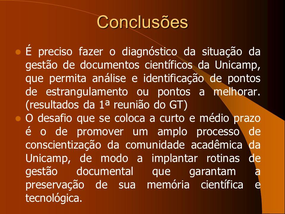 Conclusões É preciso fazer o diagnóstico da situação da gestão de documentos científicos da Unicamp, que permita análise e identificação de pontos de