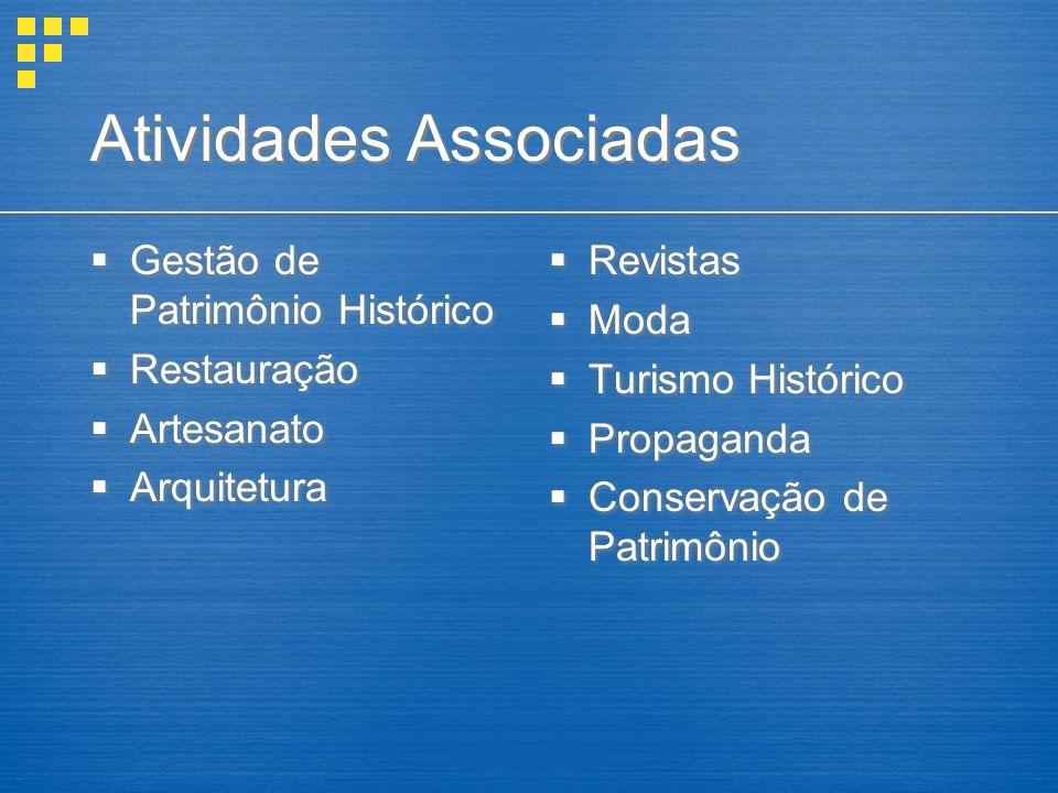 Atividades Associadas Gestão de Patrimônio Histórico Restauração Artesanato Arquitetura Gestão de Patrimônio Histórico Restauração Artesanato Arquitetura Revistas Moda Turismo Histórico Propaganda Conservação de Patrimônio