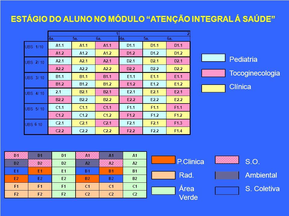ESTÁGIO DO ALUNO NO MÓDULO ATENÇÃO INTEGRAL Á SAÚDE 12 4a.5a.6a.4a.5a.6a. UBS 1 /10 A1.1 D1.1 A1.2 D1.2 UBS 2 / 10 A2.1 D2.1 A2.2 D2.2 UBS 3 / 10 B1.1
