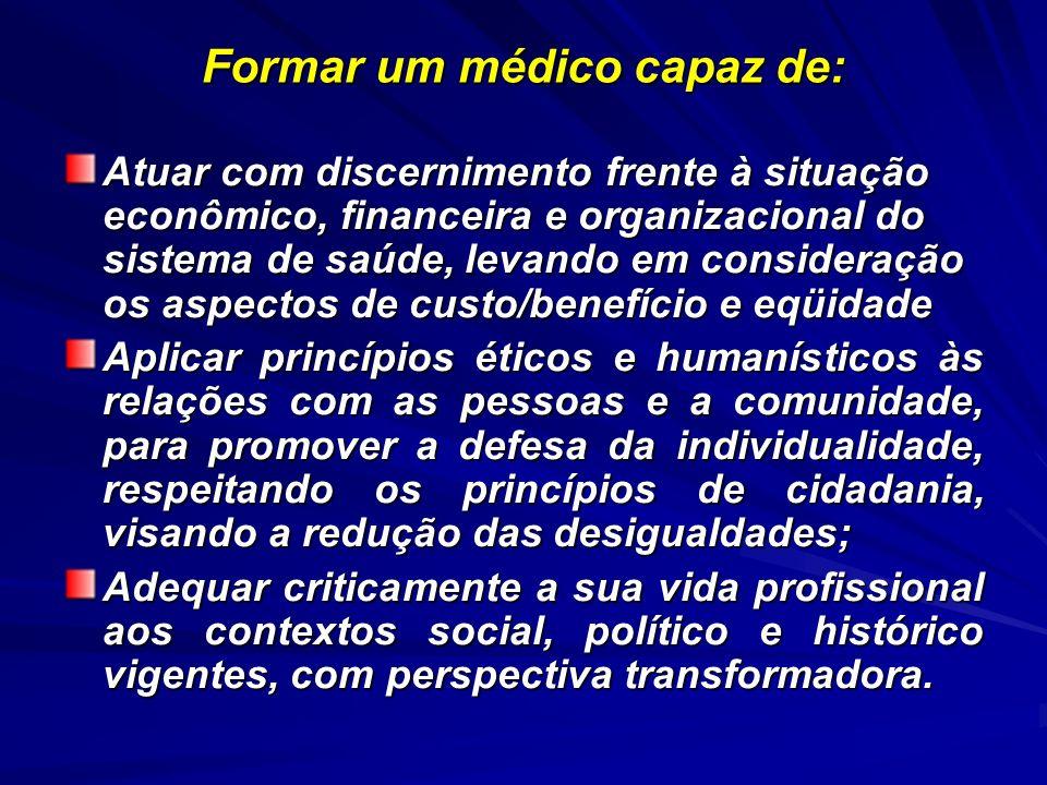 CARACTERÍSTICAS DO NOVO CURRÍCULO Interdisciplinaridade e integração entre departamentos clínicos Fisiopatologia Integrada Laboratório de Habilidades Integração básico-clínica Célula, Morfofisiologia, Neurociências, Relação Parasita-Hospedeiro Formação ética- Humanização – Responsabilização- Vínculo – Trabalho em Equipe Temas Longitudinais Medicina e Saúde Ações Básicas de Saúde Saúde e Sociedade Epidemiologia e Saúde Atenção Integral à Saúde