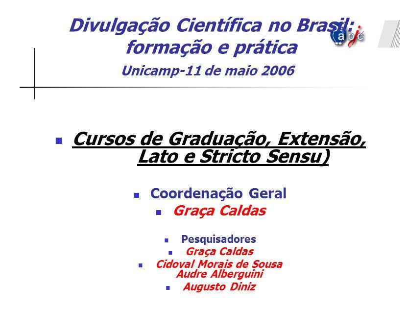 Divulgação Científica no Brasil: formação e prática Unicamp-11 de maio 2006 Cursos de Graduação, Extensão, Lato e Stricto Sensu) Coordenação Geral Gra