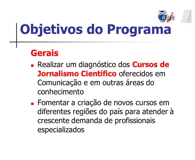 Gerais Realizar um diagnóstico dos Cursos de Jornalismo Científico oferecidos em Comunicação e em outras áreas do conhecimento Fomentar a criação de n