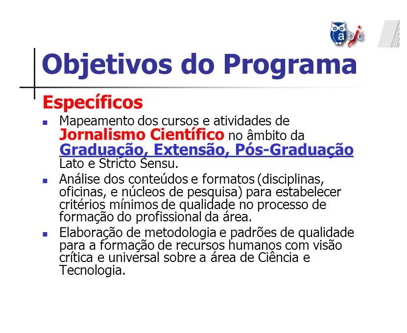 Específicos Mapeamento dos cursos e atividades de Jornalismo Científico no âmbito da Graduação, Extensão, Pós-Graduação Lato e Stricto Sensu. Análise