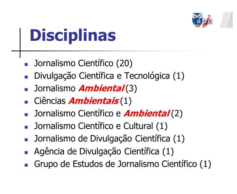 Disciplinas Jornalismo Científico (20) Divulgação Científica e Tecnológica (1) Jornalismo Ambiental (3) Ciências Ambientais (1) Jornalismo Científico