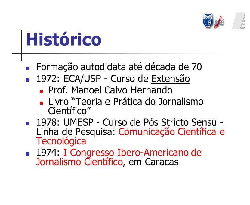 Histórico Formação autodidata até década de 70 1972: ECA/USP - Curso de Extensão Prof. Manoel Calvo Hernando Livro Teoria e Prática do Jornalismo Cien