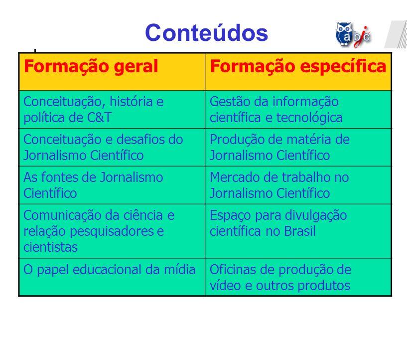 Formação geralFormação específica Conceituação, história e política de C&T Gestão da informação científica e tecnológica Conceituação e desafios do Jo