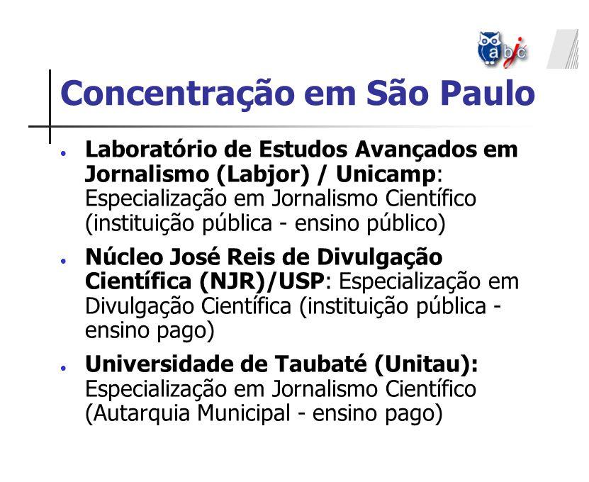 Concentração em São Paulo Laboratório de Estudos Avançados em Jornalismo (Labjor) / Unicamp: Especialização em Jornalismo Científico (instituição públ