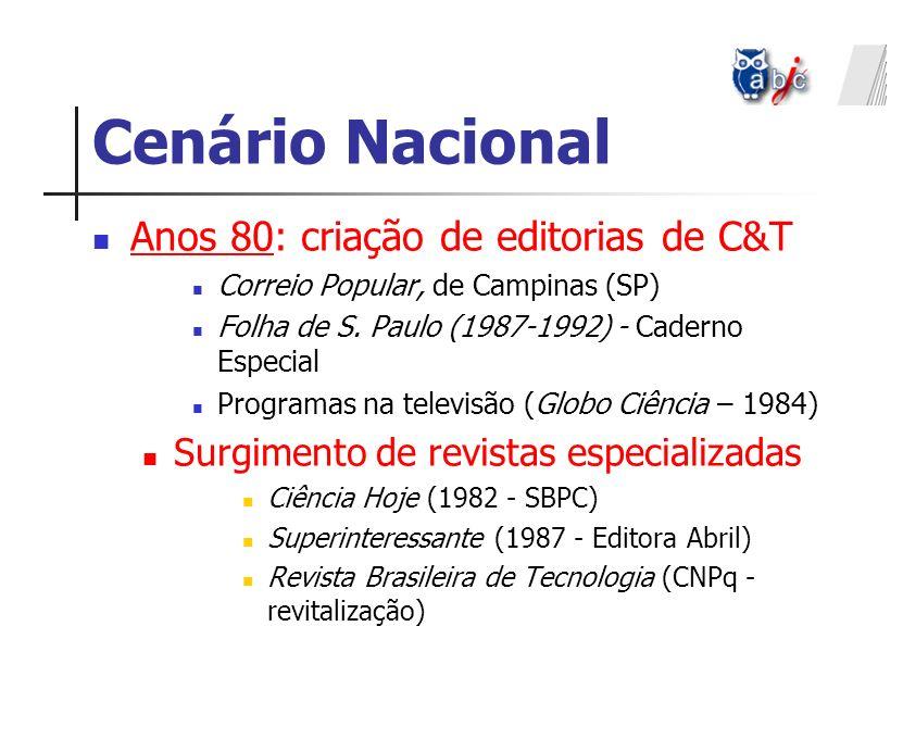 Cenário Nacional Anos 90: fluxo e refluxo algumas editorias de C&T desaparecem Programas de TV (Repórter Eco-1993, Ver Ciência, 1999) Proliferam jornais universitários e de instituições de pesquisa (Ass.