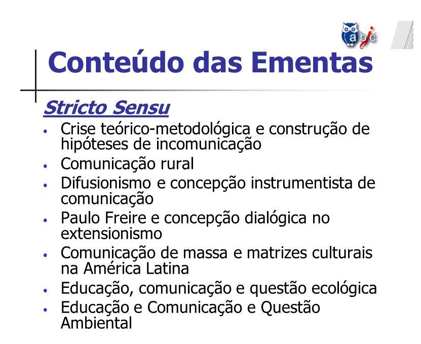 Stricto Sensu Crise teórico-metodológica e construção de hipóteses de incomunicação Comunicação rural Difusionismo e concepção instrumentista de comun