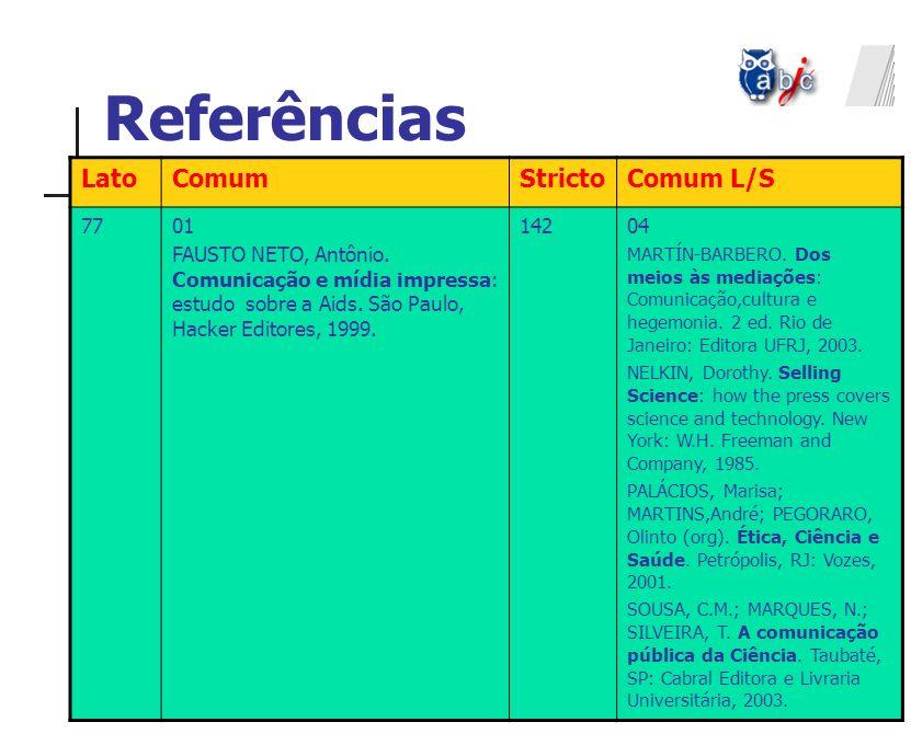 Referências LatoComumStrictoComum L/S 7701 FAUSTO NETO, Antônio. Comunicação e mídia impressa: estudo sobre a Aids. São Paulo, Hacker Editores, 1999.