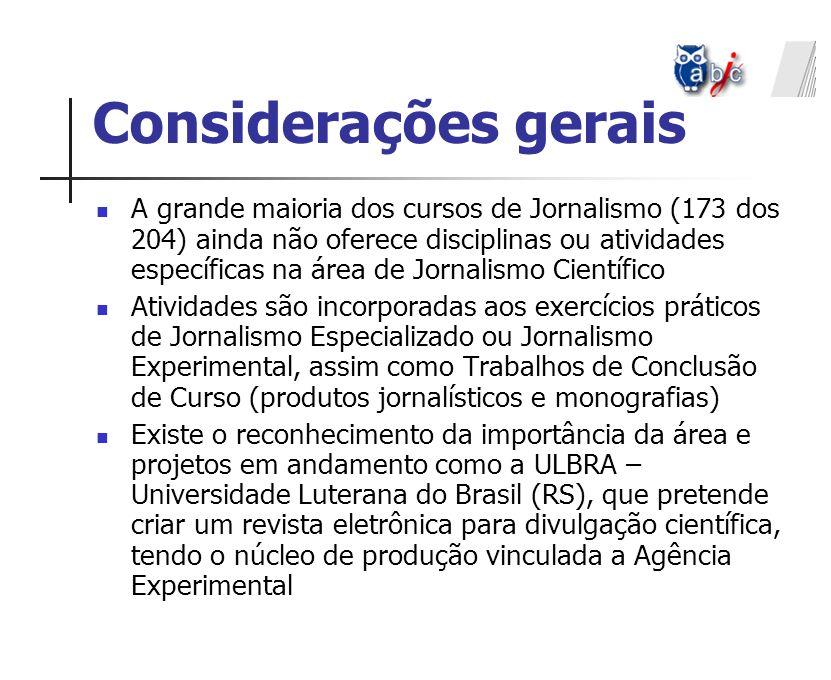 Considerações gerais A grande maioria dos cursos de Jornalismo (173 dos 204) ainda não oferece disciplinas ou atividades específicas na área de Jornal