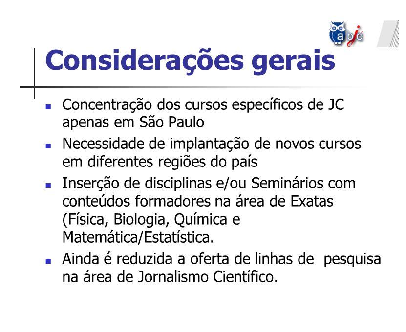 Concentração dos cursos específicos de JC apenas em São Paulo Necessidade de implantação de novos cursos em diferentes regiões do país Inserção de dis