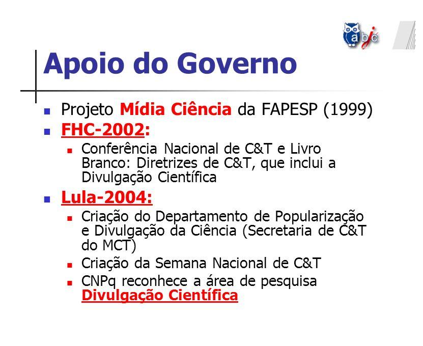 Projeto Mídia Ciência da FAPESP (1999) FHC-2002: Conferência Nacional de C&T e Livro Branco: Diretrizes de C&T, que inclui a Divulgação Científica Lul