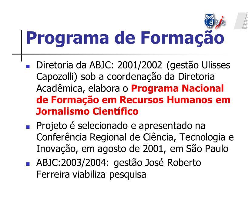 Diretoria da ABJC: 2001/2002 (gestão Ulisses Capozolli) sob a coordenação da Diretoria Acadêmica, elabora o Programa Nacional de Formação em Recursos