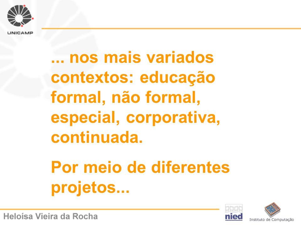 ... nos mais variados contextos: educação formal, não formal, especial, corporativa, continuada. Por meio de diferentes projetos...