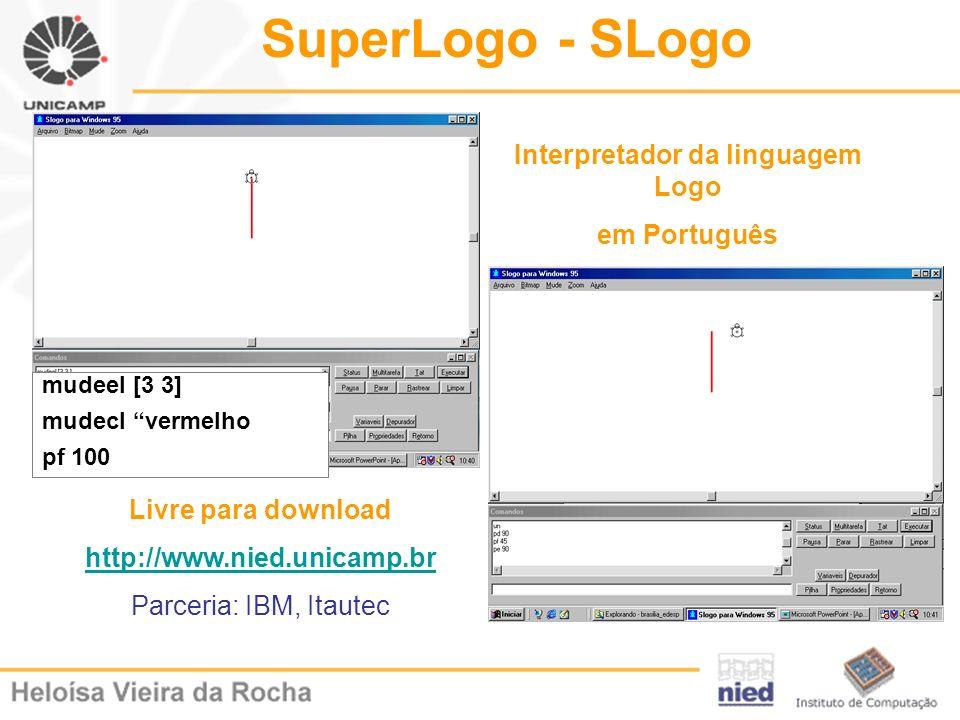 mudeel [3 3] mudecl vermelho pf 100 SuperLogo - SLogo Livre para download http://www.nied.unicamp.br Parceria: IBM, Itautec Interpretador da linguagem
