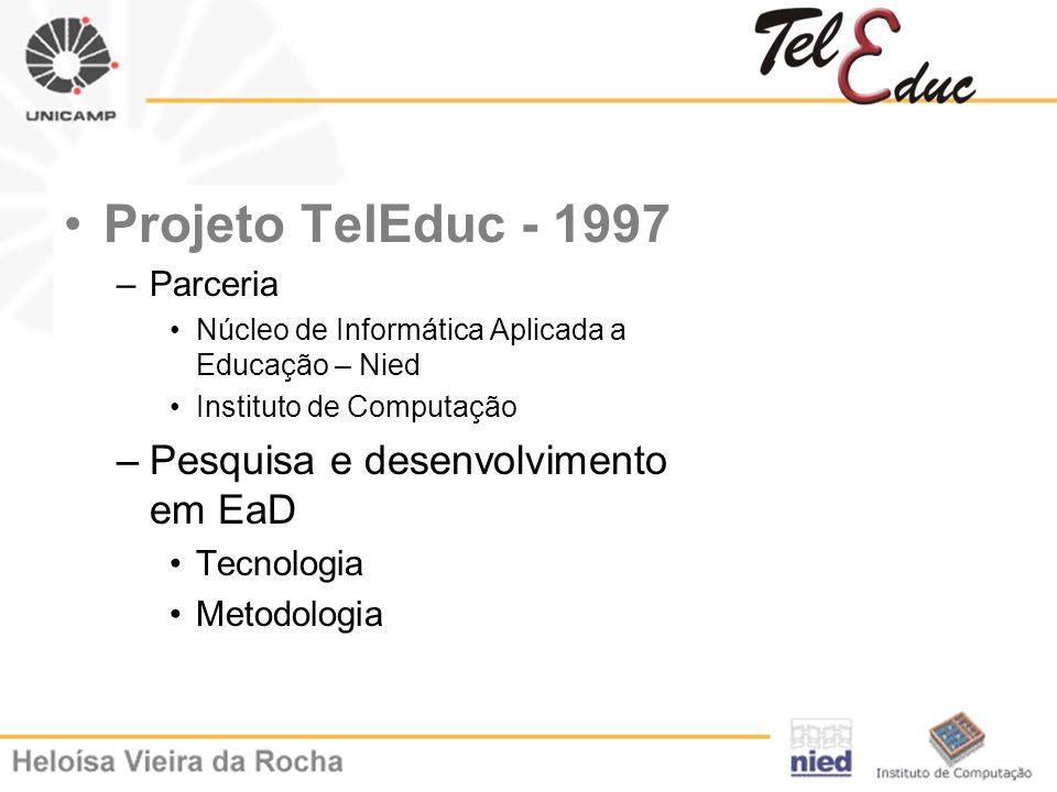 Projeto TelEduc - 1997 –Parceria Núcleo de Informática Aplicada a Educação – Nied Instituto de Computação –Pesquisa e desenvolvimento em EaD Tecnologi