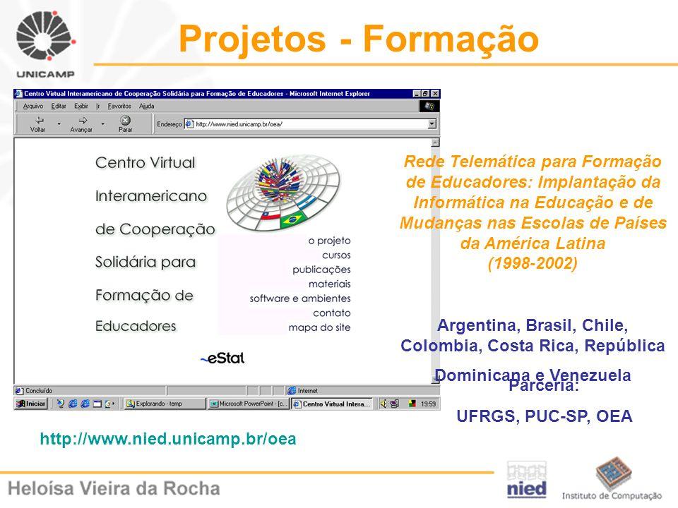 Projetos - Formação Rede Telemática para Formação de Educadores: Implantação da Informática na Educação e de Mudanças nas Escolas de Países da América