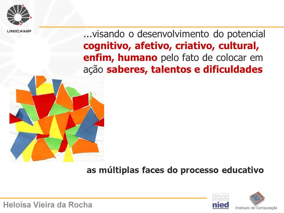 ...visando o desenvolvimento do potencial cognitivo, afetivo, criativo, cultural, enfim, humano pelo fato de colocar em ação saberes, talentos e dific