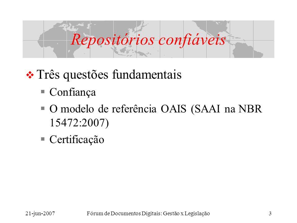 21-jun-2007Fórum de Documentos Digitais: Gestão x Legislação3 Repositórios confiáveis Três questões fundamentais Confiança O modelo de referência OAIS (SAAI na NBR 15472:2007) Certificação