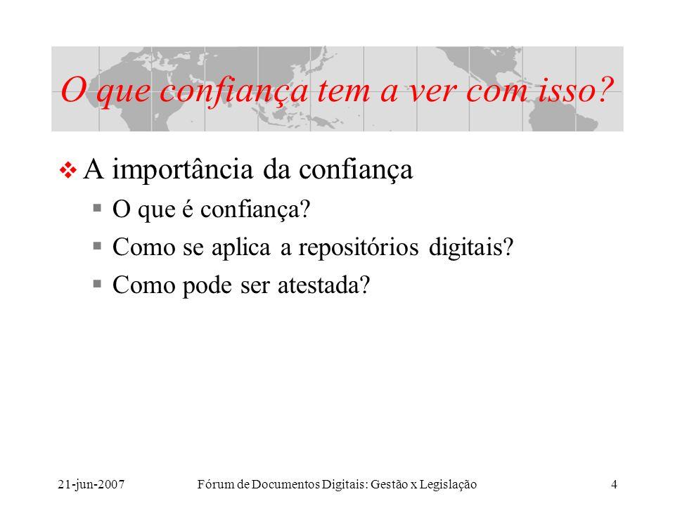 21-jun-2007Fórum de Documentos Digitais: Gestão x Legislação4 O que confiança tem a ver com isso.