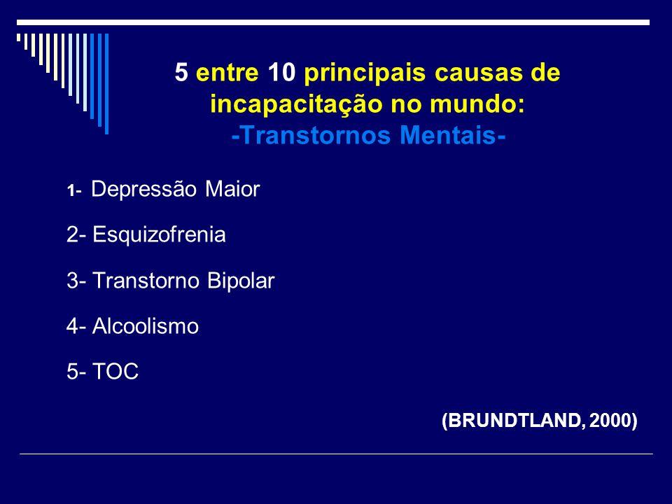 5 entre 10 principais causas de incapacitação no mundo: -Transtornos Mentais- 1- Depressão Maior 2- Esquizofrenia 3- Transtorno Bipolar 4- Alcoolismo