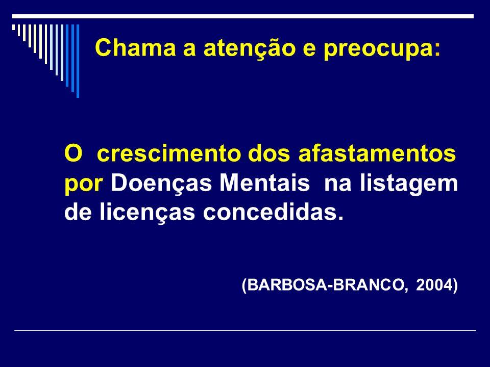Chama a atenção e preocupa: O crescimento dos afastamentos por Doenças Mentais na listagem de licenças concedidas. (BARBOSA-BRANCO, 2004)