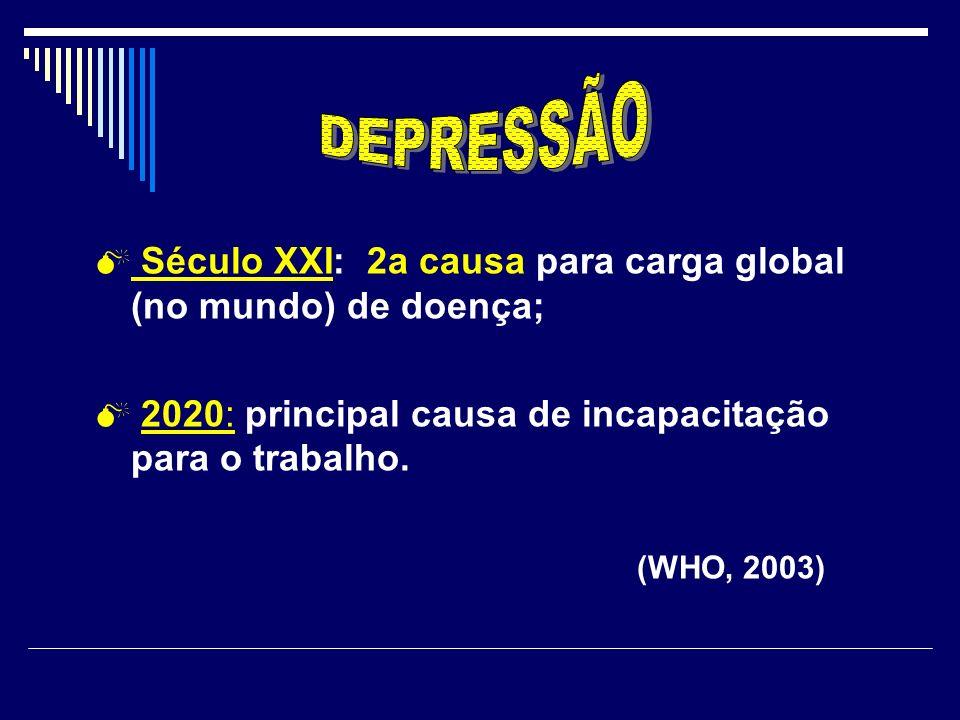 Século XXI: 2a causa para carga global (no mundo) de doença; 2020: principal causa de incapacitação para o trabalho. (WHO, 2003)