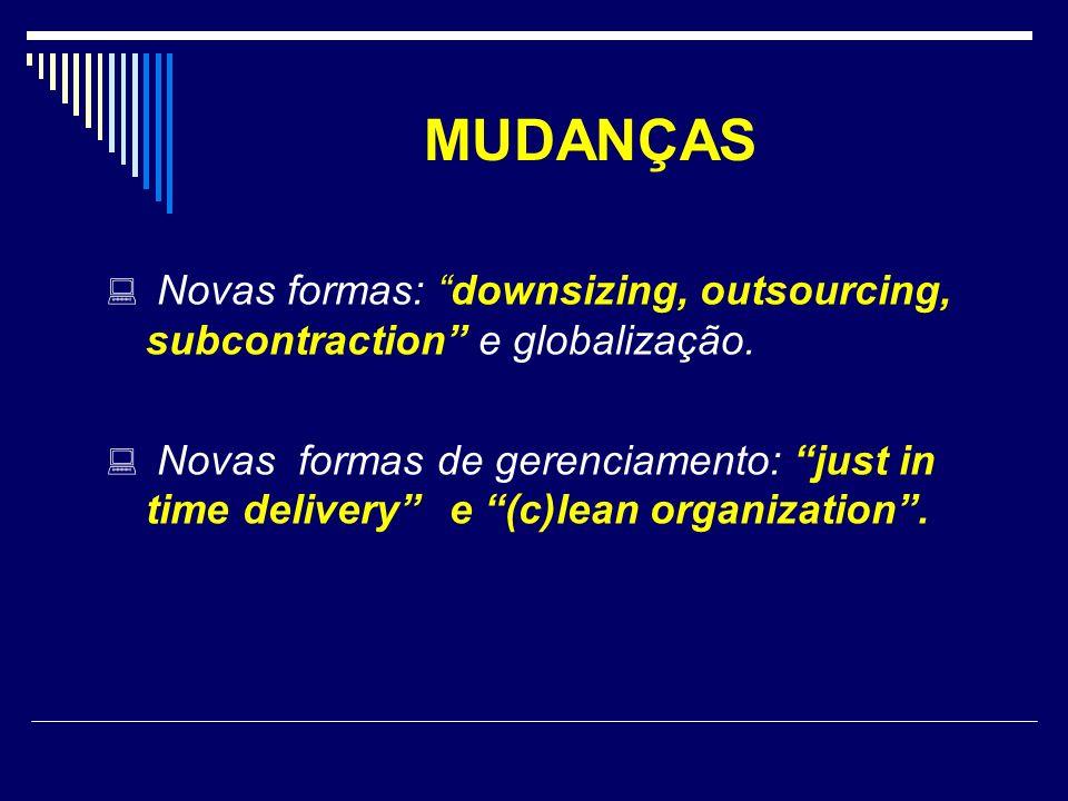 MUDANÇAS Novas formas: downsizing, outsourcing, subcontraction e globalização. Novas formas de gerenciamento: just in time delivery e (c)lean organiza