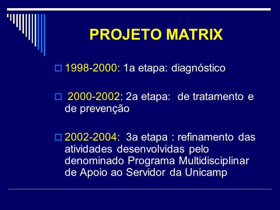 PROJETO MATRIX 1998-2000: 1a etapa: diagnóstico 2000-2002: 2a etapa: de tratamento e de prevenção 2002-2004: 3a etapa : refinamento das atividades des