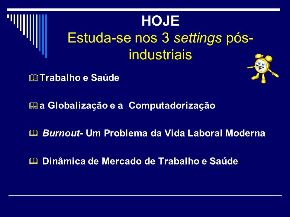 HOJE Estuda-se nos 3 settings pós- industriais Trabalho e Saúde a Globalização e a Computadorização Burnout- Um Problema da Vida Laboral Moderna Dinâm