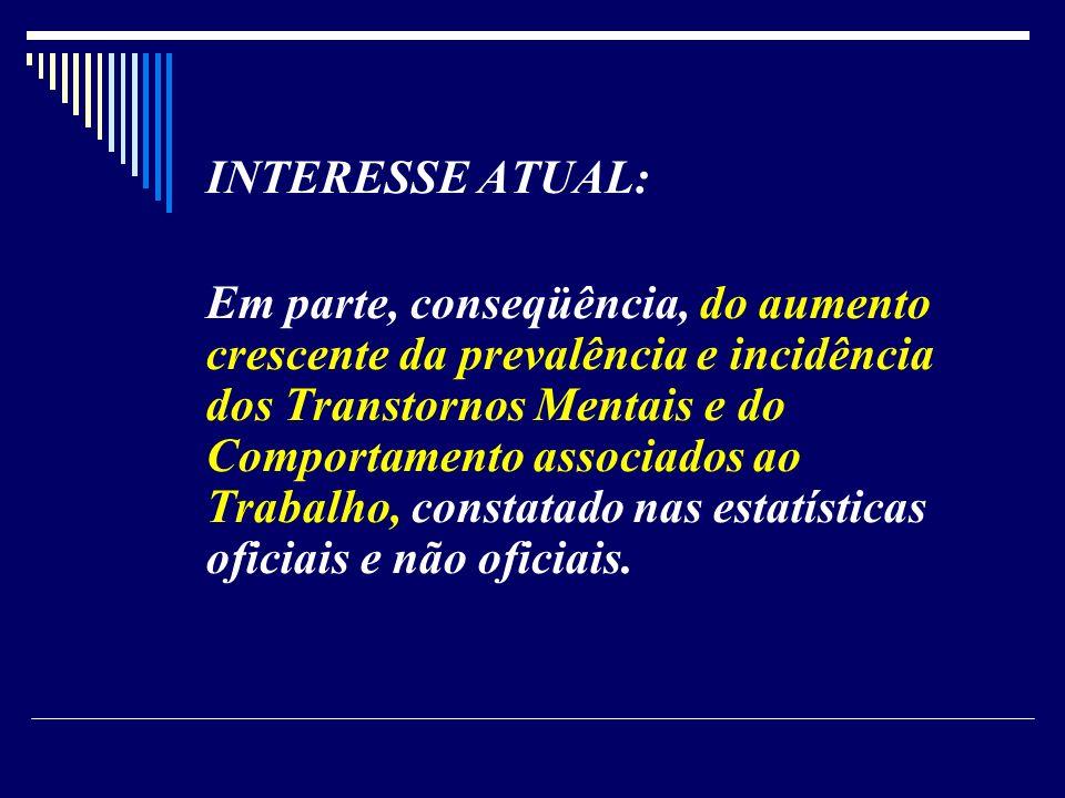 INTERESSE ATUAL: Em parte, conseqüência, do aumento crescente da prevalência e incidência dos Transtornos Mentais e do Comportamento associados ao Tra
