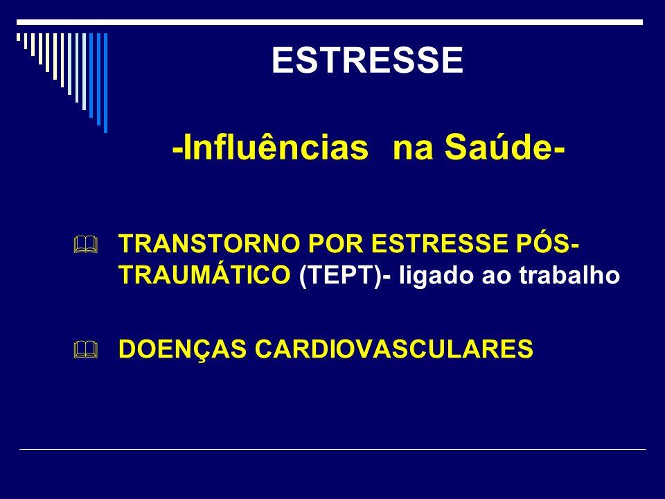 ESTRESSE -Influências na Saúde- TRANSTORNO POR ESTRESSE PÓS- TRAUMÁTICO (TEPT)- ligado ao trabalho DOENÇAS CARDIOVASCULARES