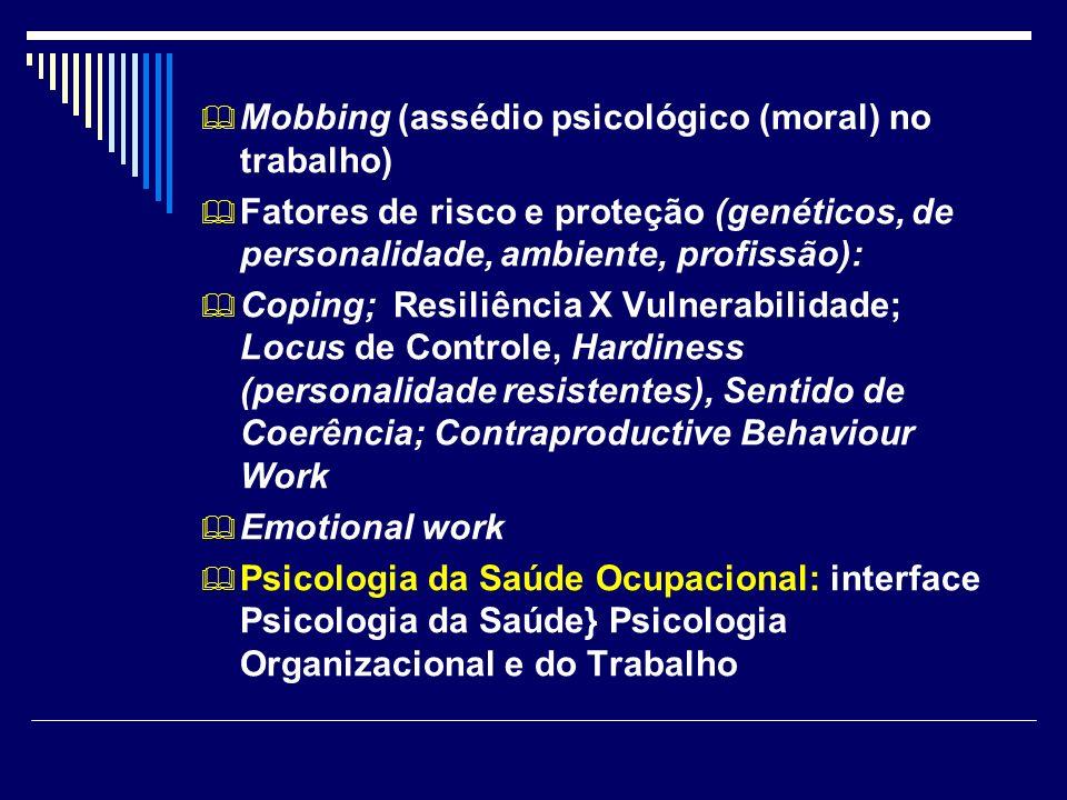 Mobbing (assédio psicológico (moral) no trabalho) Fatores de risco e proteção (genéticos, de personalidade, ambiente, profissão): Coping; Resiliência