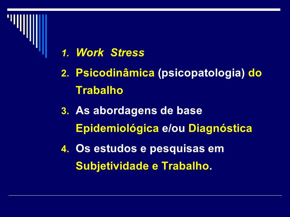 1. Work Stress 2. Psicodinâmica (psicopatologia) do Trabalho 3. As abordagens de base Epidemiológica e/ou Diagnóstica 4. Os estudos e pesquisas em Sub